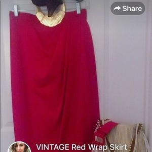 VINTAGE red wrap skirt.